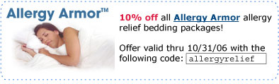 10% off all Allergy Armor allergy relief bedding packages!
