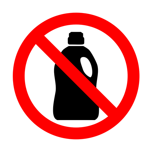 graphic of prohibited sign over chemical bottle