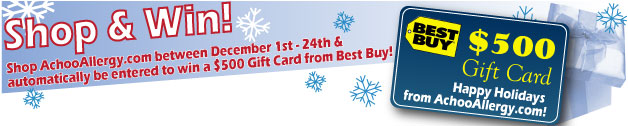 Achooallergy.com 10% Off Your Entire Order Now Through 1/11/10 and enter to win a 500.00 Best Buy Gift Card!