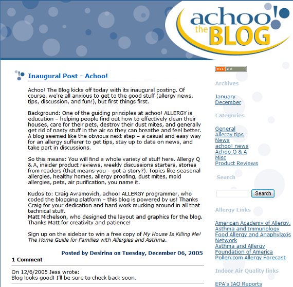 AchooBlog - 8 Years of Serving the Allergy, Asthma and MCS Communities