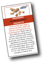 Food Allergy Cards are Handy Reminders