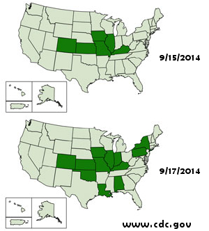 CDC Chart of States Reporting Enterovirus D68 Cases