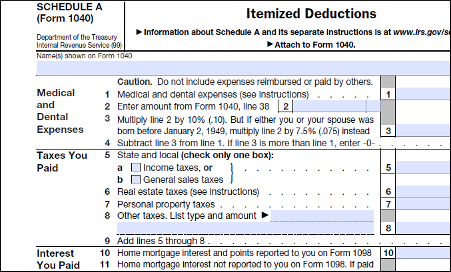 IRS Tax Form Schedule A - Attachment to 1040