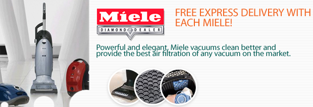Limited Time Offer, TWO FREE BOXES of Miele Filter Bags and FREE Express Delivery with the Purchase of Every Miele Vacuum Cleaner