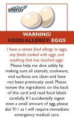 Egg Allergy Restaurant Cards