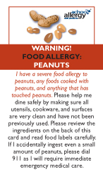 Peanut Allergy Restaurant Cards