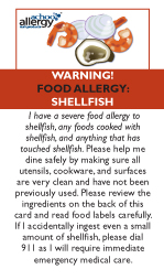 Shellfish Allergy Restaurant Cards