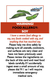 Soy Allergy Restaurant Cards