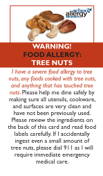 Tree Nut Allergy Restaurant Cards