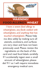 Wheat Allergy Restaurant Cards