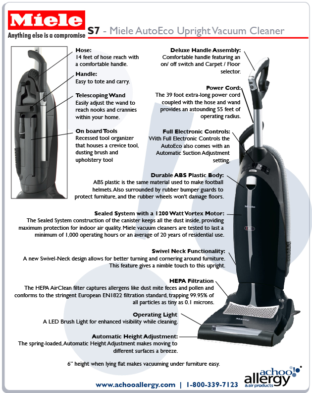 Miele S7 Bolero Upright Vacuum Features