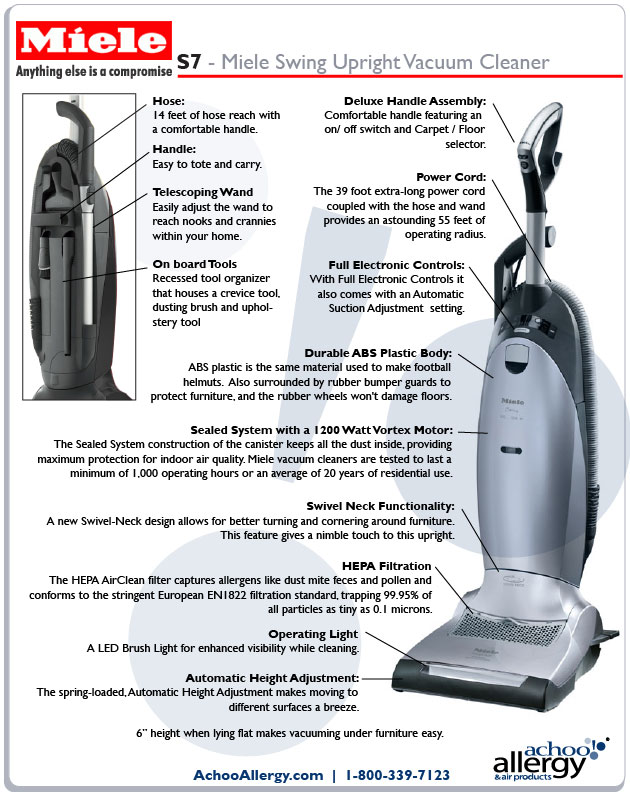 Miele S7 Swing Upright Vacuum Features