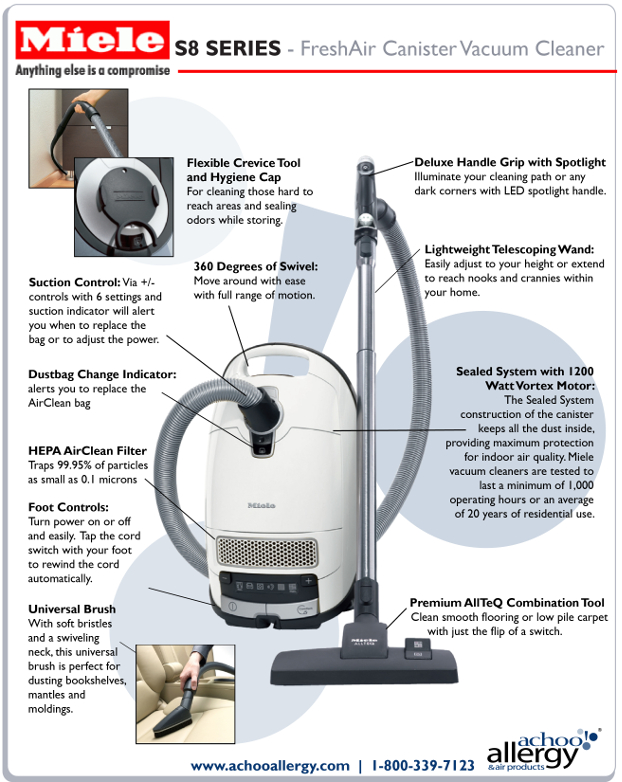 Miele S8390 Fresh Air Canister Vacuum Cleaner Details