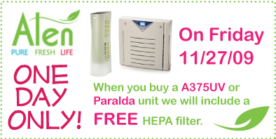 Buy an Alen A375UV or Paralda and get a free HEPA filter!