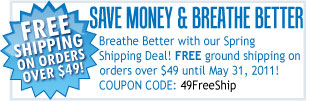 Free shipping on all orders over $49 now through May 31st, 2011!