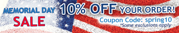 Shop Now and Take 10% Off Through Memorial Day!