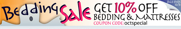 Bedding Sale! 10% Off Bedding & Mattresses Until 10/31/11