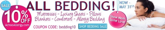 10% OFF All Bedding at AchooAllergy.com!