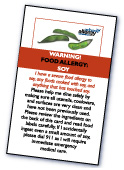 Food Allergy Restaurant Card