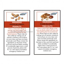 Food Allergy Restaurant Cards